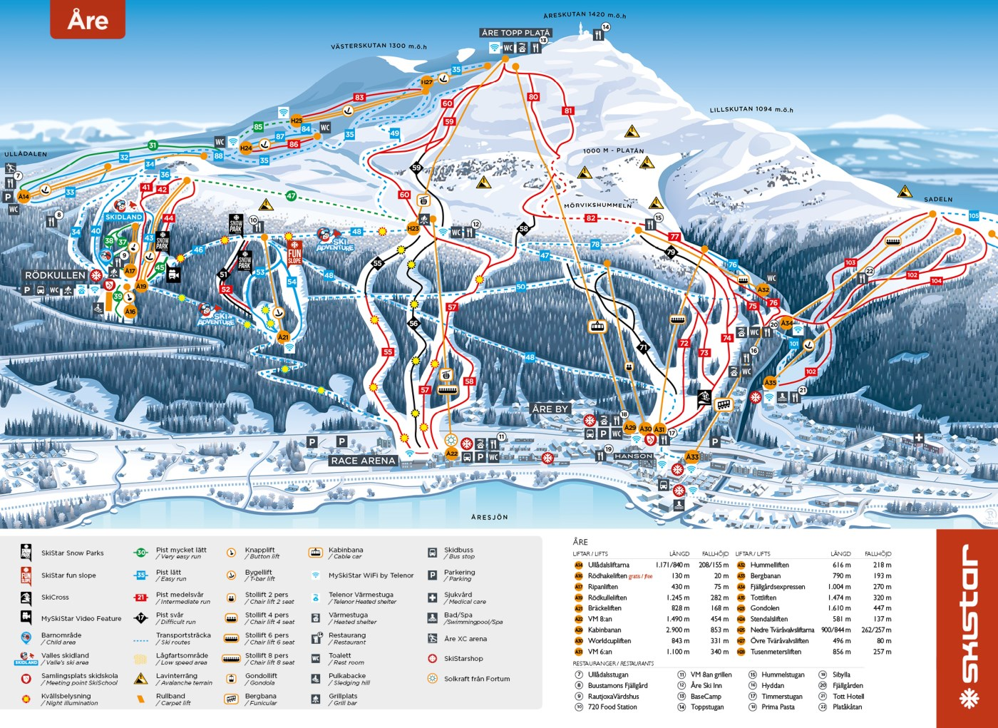 Åre Piste / Trail Map