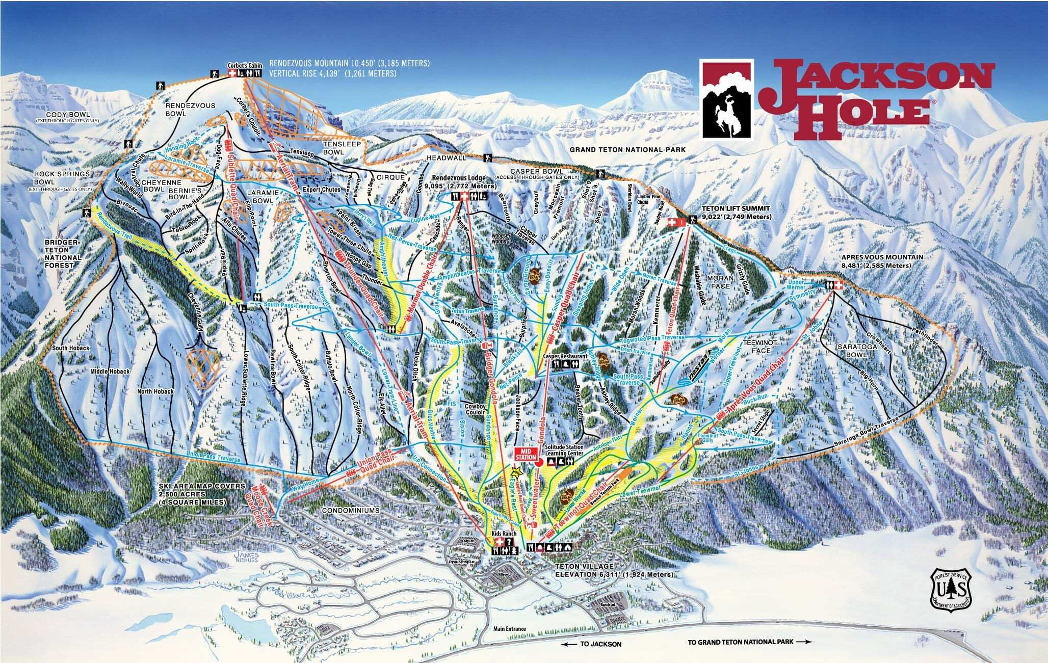 Jackson Hole Piste / Trail Map