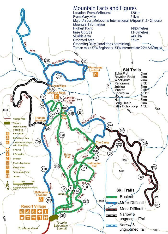Lake Mountain Piste / Trail Map