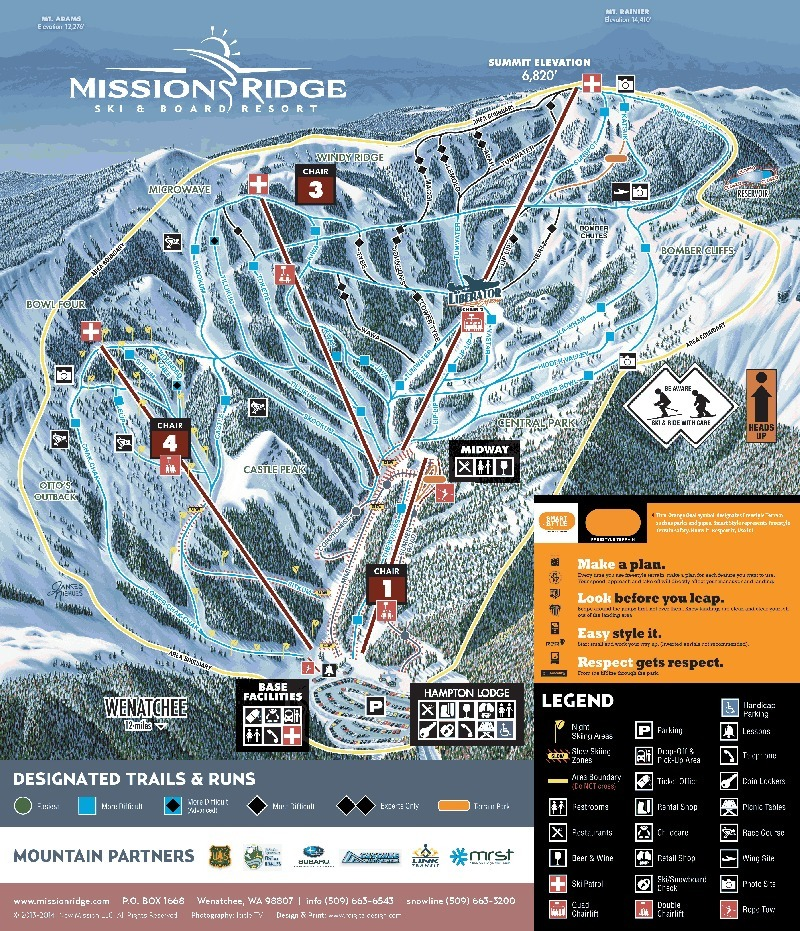Mission Ridge Piste / Trail Map