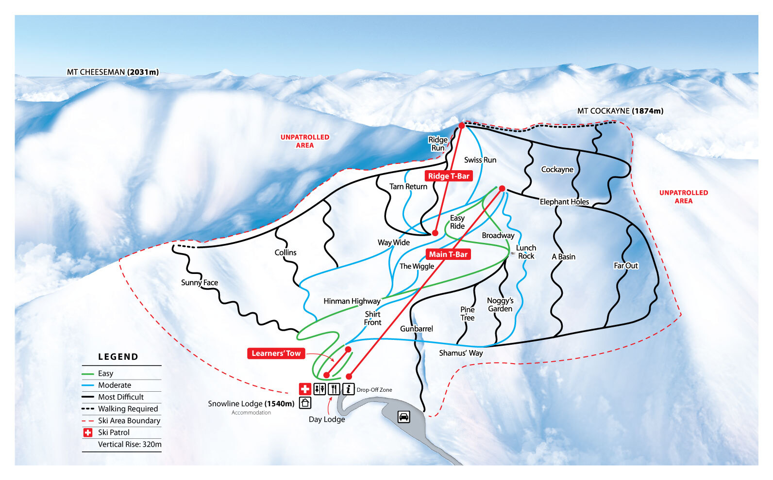 Mount Cheeseman Piste / Trail Map
