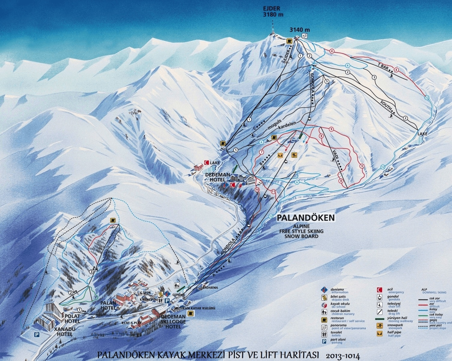 Mt Palandöken Piste / Trail Map