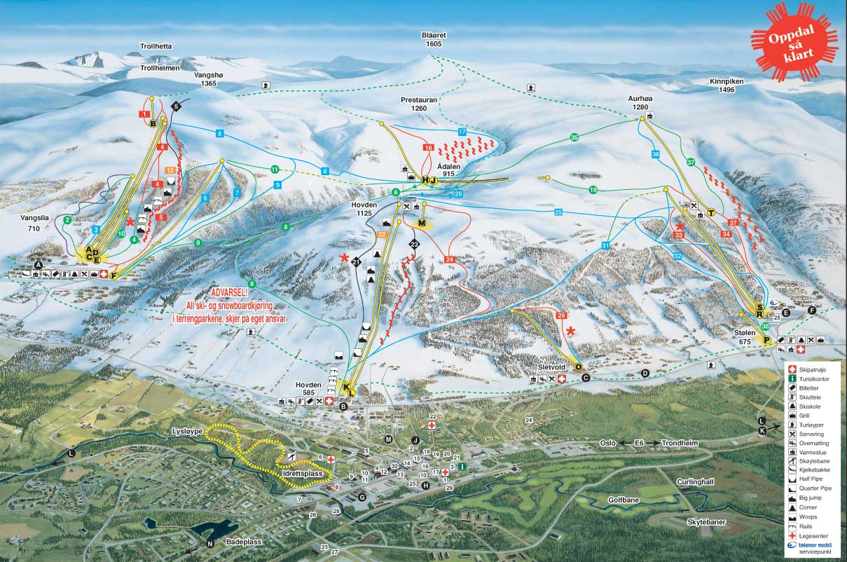 Oppdal Piste / Trail Map