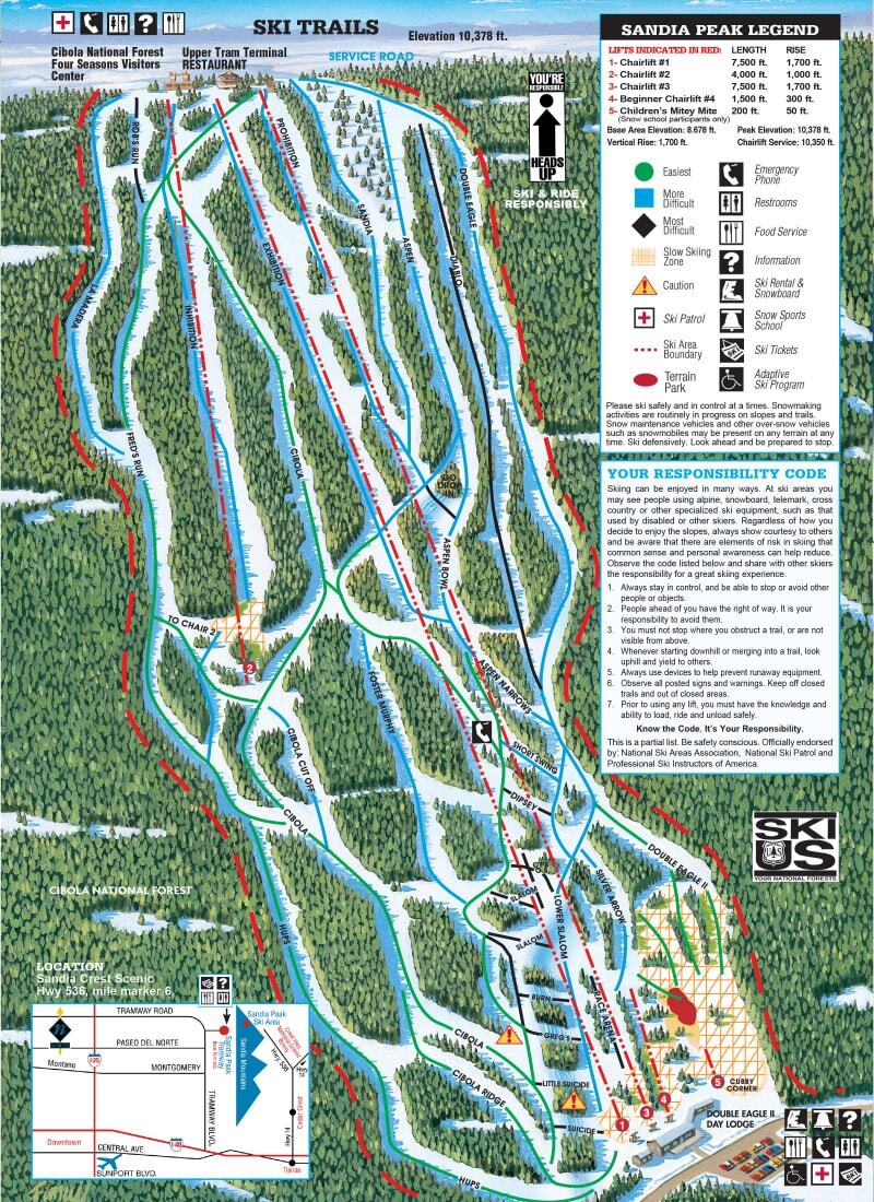 Sandia Peak Piste / Trail Map