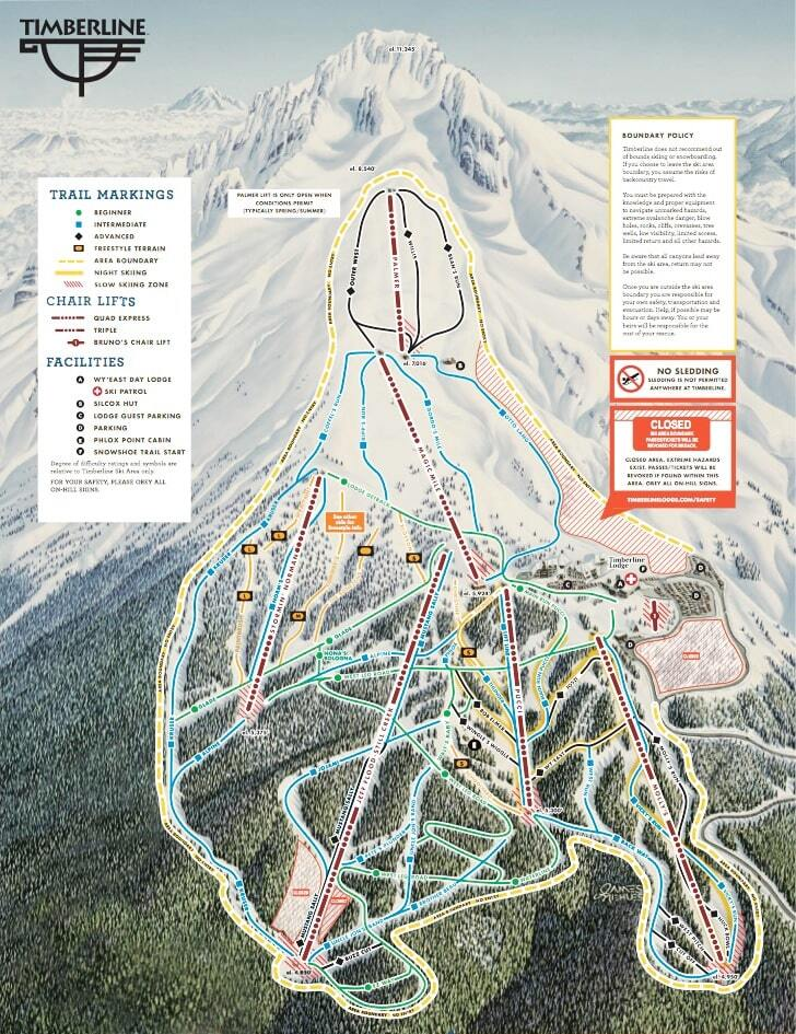 Timberline Piste / Trail Map