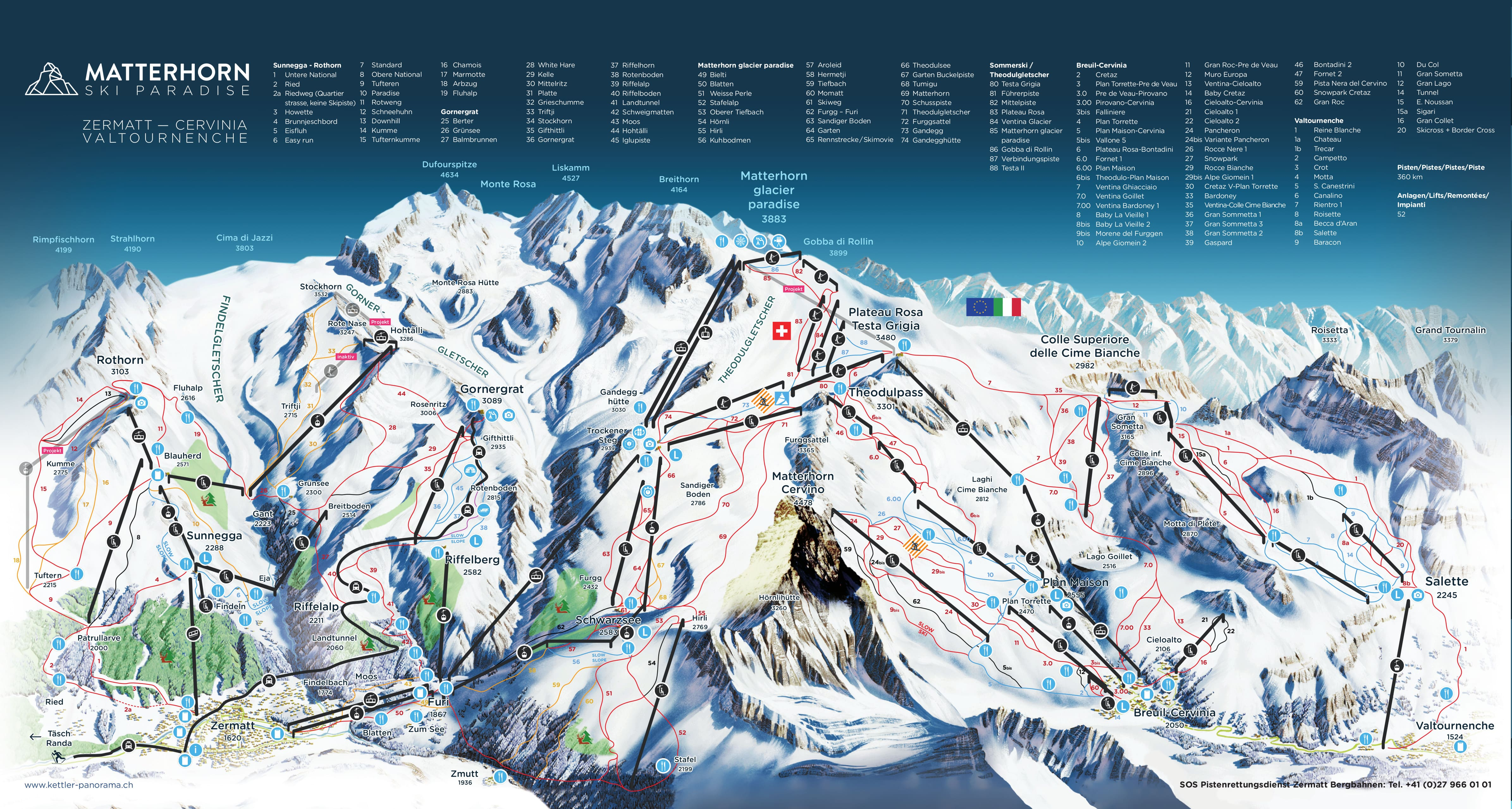 Zermatt Piste / Trail Map