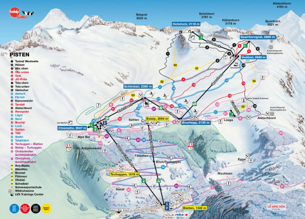 Belalp - Blatten - Naters Piste / Trail Map