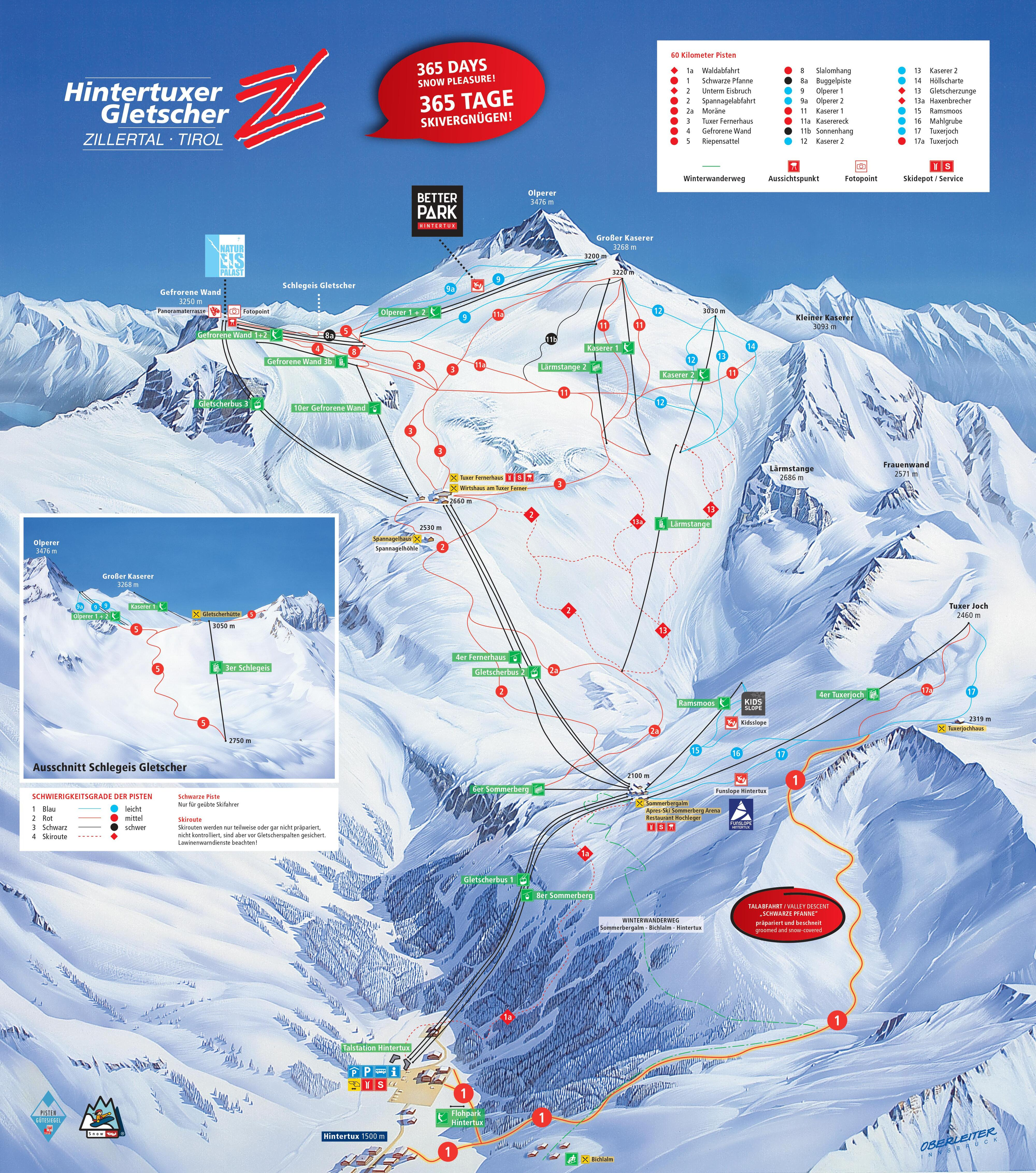 Hintertux Piste / Trail Map