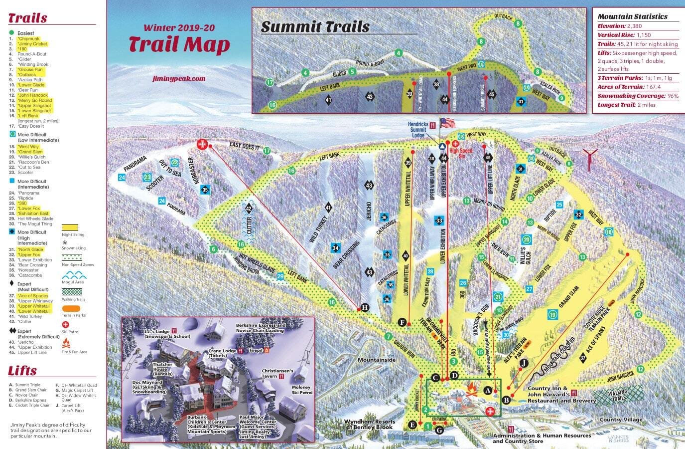 Jiminy Peak Piste / Trail Map