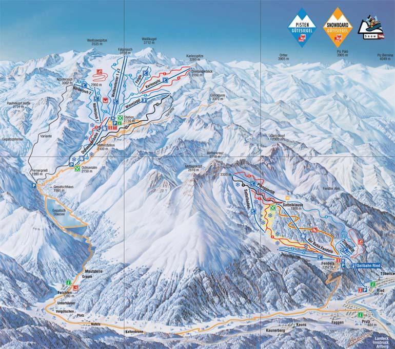 Kaunertal Piste / Trail Map