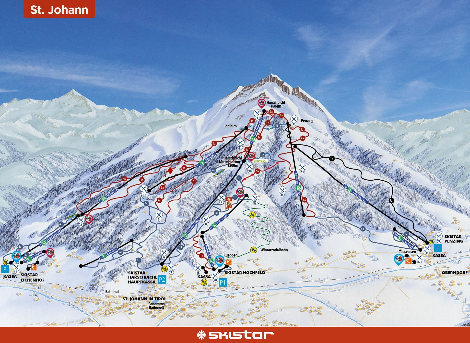 St Johann in Tirol Piste / Trail Map
