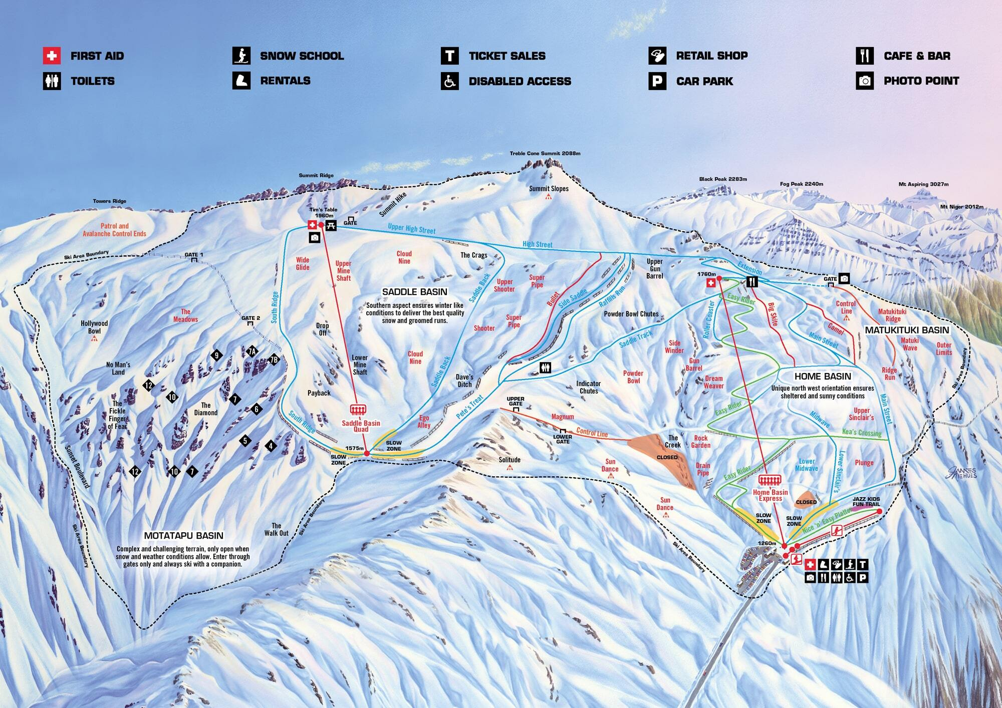 Treble Cone Piste / Trail Map